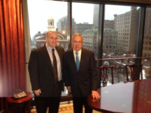 John Guilfoil and Mayor Thomas M. Menino on his last day in office
