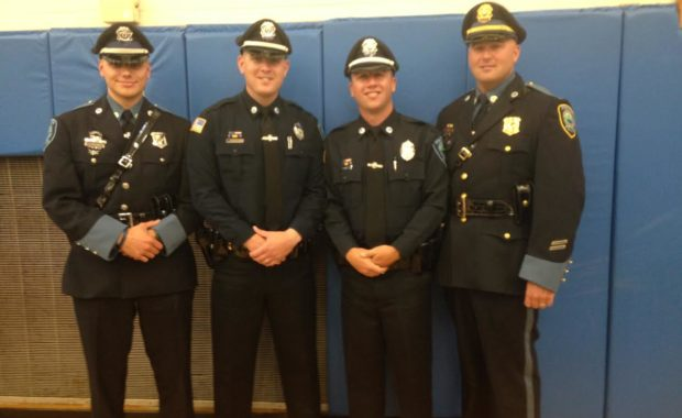 Pictured left to right: Officer Charles Ciccotelli, Officer Brian Murphy, Officer Matthew Lemire and Lt. Jon Hubbard. (Courtesy of the Ipswich Police Department)